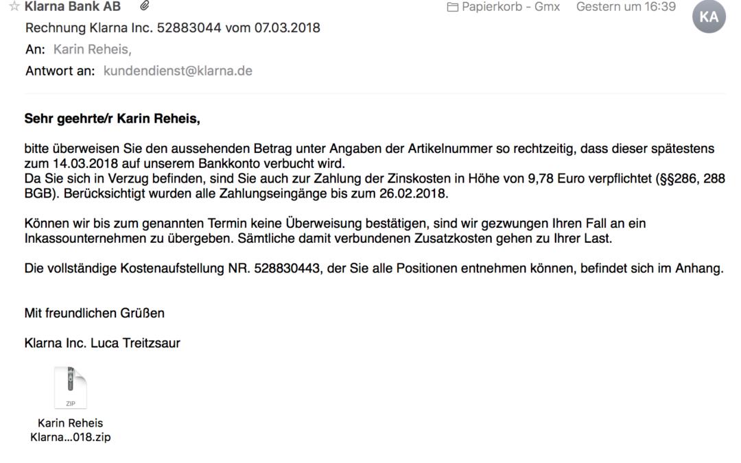Spam Mail Von Klarna Bank Ab Webdesign Reheis