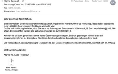 Spam-Mail von Klarna Bank AB
